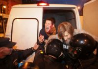 ATTENTION EDITORS - VISUAL COVERAGE OF SCENES OF INJURY OR DEATH Police officers detain supporters of Russian opposition leader Alexei Navalny during a rally in St. Petersburg, Russia October 7, 2017. REUTERS/Anton Vaganov